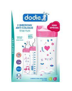 Dodie Coffretx2 Biberons Sensation+ 330Ml Fushia Cygnes +6 Mois Tétine Plate Débit 3