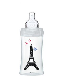 Dodie Biberon Sensation+ Anti-Colique Verre 270ml Paris 0-6 mois Tétine Plate Débit 2