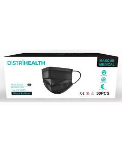 Distrihealth Masques Chirurgicaux Jetables Type II - Noirs x50 Masques