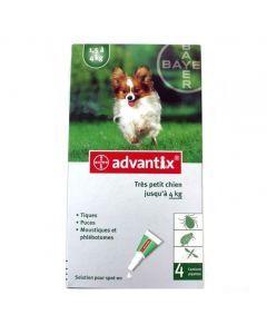 Bayer Advantix Antiparasitaire Très Petits Chiens jusqu'À 4kg