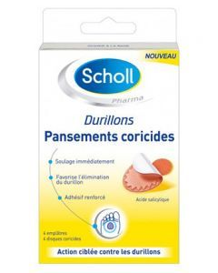 Scholl Pansements Coricides Durillons 2 Emplâtres + 2 Disques Coricides