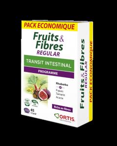 Ortis Fruits & Fibres Regular Transit Intestinal Pack Économique 45 Comprimés