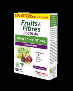 Ortis Transit Intestinal Fruits & Fibres Regular Lot de 1+2ème 50% Offerts 2x30 Comprimés