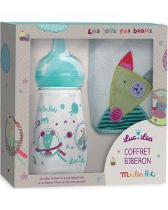 """Luc et Léa Coffret biberon 270 ml + Bavoir """"collection capsule Moulin Roty"""""""