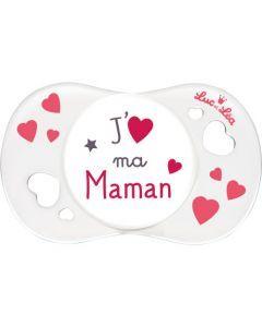 """Luc et Léa Sucette 0-6 mois symétrique """"J'aime ma maman"""""""