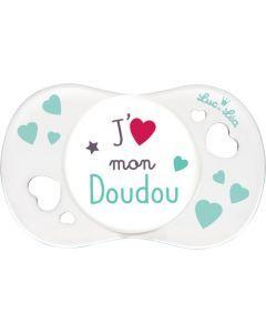 """Luc et Léa Sucette 0-6 mois physiologique """"J'aime mon doudou"""""""