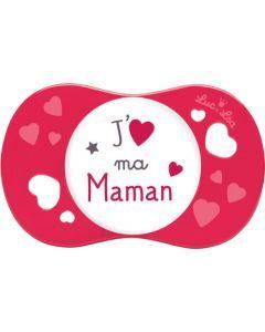 """Luc et Léa Sucette +6 mois symétrique """"J'aime ma maman"""""""