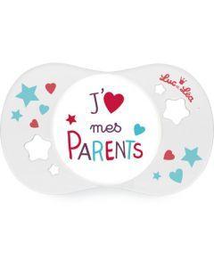 """Luc et Léa Sucette +18mois symétrique """"J''aime mes parents"""""""