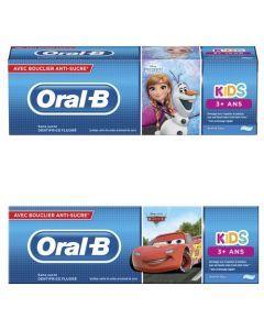 Oral-B Kids, Disney Cars ou La Reine Des Neiges, 3 Ans Et Plus, Arôme Doux, Dentifrice 75 ml