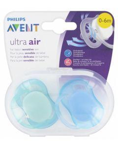 Avent Ultra Air 0-6 mois Vert et Bleu 2 sucettes