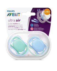 Avent Ultra Air 6-18 mois Bleu et Vert 2 sucettes