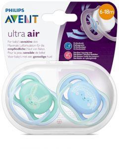Avent Ultra Air 6-18 mois Vert & Bleu 2 sucettes