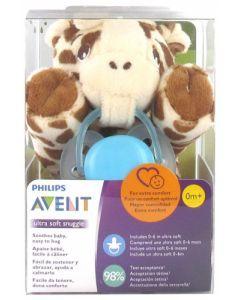 Avent Ultra Soft Sucette 0-6 mois + Attache-Sucette Girafe