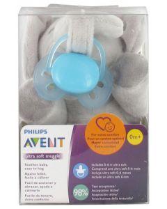 Avent Ultra Soft Sucette 0-6 mois + Attache-Sucette Elephant