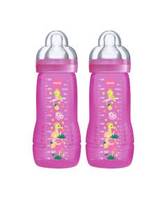 MAM Biberon Easy Active Coloré 330 ml Rose - à partir de 6 mois - Lot de 2  - Tétine Débit X