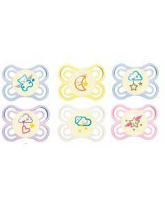 MAM Sucette Perfect Nuit - de 0 à 6 mois - Silicone - Boîte Stérilisation - Coloris Aléatoire