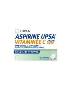 UPSA Aspirine 330mg Vitaminée C 200mg Tamponnée Effervescente x20 Comprimés Effervescents