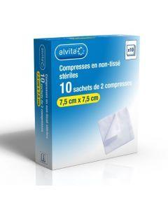 Alvita Compresse Stérile en Non Tissé 7,5cm X 7,5cm 10 Sachets
