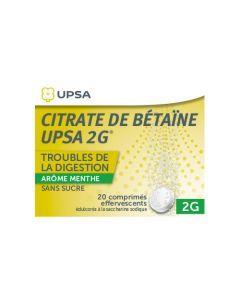 UPSA Citrate de Bétaïne Menthe Sans Sucre 2g comprimé effervescent édulcoré à la saccharine sodique