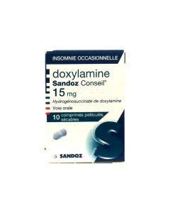 Doxylamine Sandoz 15mg 10 Comprimés pelliculés sécables