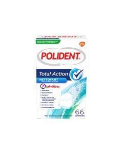 Polident Nettoyant Total Action Anti-bactérien 66 Comprimés