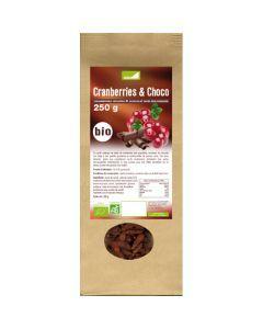 Exopharm Cranberries Séchées & Chocolat Noir Biologiques Sachet de 250g