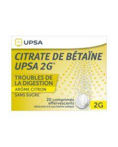 UPSA Citrate de Bétaïne 2g Arôme Citron Sans Sucre 20 Comprimé Effervescent