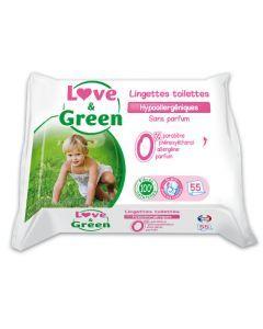 Love & Green Lingettes Toilette Propreté Sans Parfum Hypoallergéniques 55 Lingettes