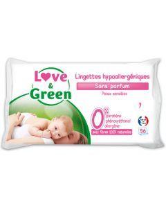 Love & Green Lingettes Sans Parfum 56 lingettes