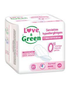 Love & Green Serviettes Normales Hypoallergéniques 0% 14 Protections