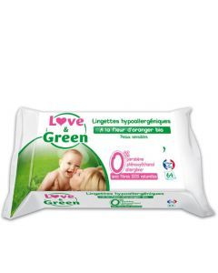 Love & Green Lingettes Fleurs d'Oranger 64 lingettes