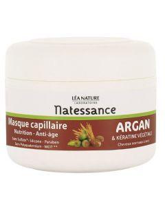 Natessance Masque Capillaire Argan & Kératine Végétale, Nutrition - Anti-Âge 200ml