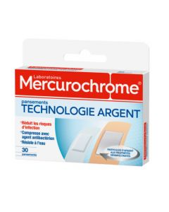 Mercurochrome Pansements Technologie Argent 30 Unités