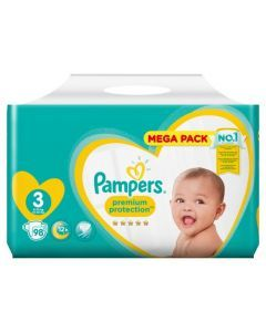 Pampers Premium Protection, Taille 3, 6-10 kg, 98 Couches
