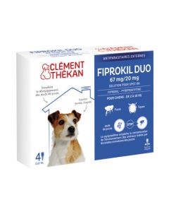 Clément Thékan Fiprokil Duo Spot-On 67/20mg Chiens 2-10kg 4 Pipettes