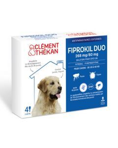 Clément Thékan Fiprokil Duo Spot-On 268/80mg Chiens 20-40kg 4 Pipettes