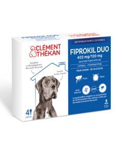 Clément Thékan Fiprokil Duo Spot-On 402/120mg Chiens 40-60kg 4 Pipettes
