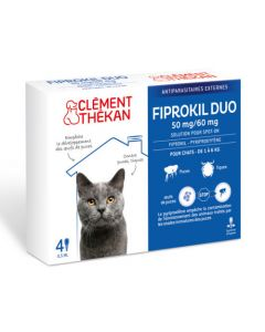 Clément Thékan Fiprokil Duo Spot-On 50/60mg Chat 1-6kg 4 Pipettes