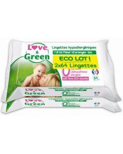 Love & Green Lingettes Fleurs d'Oranger Duo 2x64 lingettes