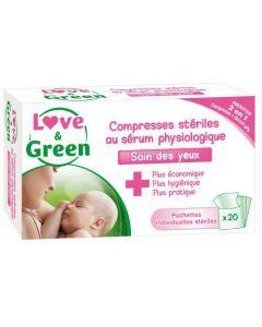 Love & Green Compresses Stériles au Sérum Physiologique 20 compresses