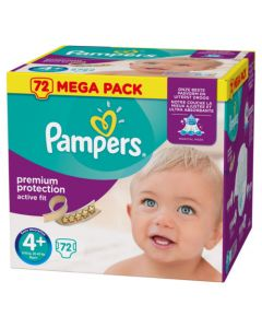 Pampers Active Fit Avec Canaux Absorbants Taille 4+ (9-18kg) x 72 couches