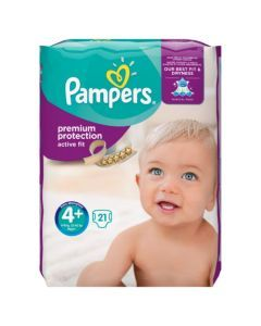 Pampers Active Fit Avec Canaux Absorbants Taille 4+ (9-18kg) x 21 couches