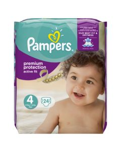 Pampers Active Fit Avec Canaux Absorbants Taille 4 (Maxi) (8-16 Kg) x 24 couches