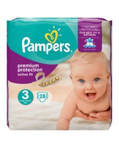 Pampers Active Fit Avec Canaux Absorbants Taille 3 (5-9kg) x 28 couches