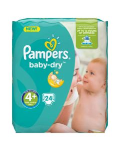 Pampers Baby-Dry Avec Canaux Absorbants Taille 4+ (9-18kg) x 24couches