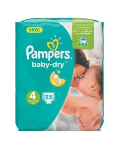 Pampers Baby-Dry Avec Canaux Absorbants Taille 4 (8-16kg) x 25 couches