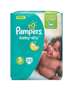 Pampers Baby-Dry Avec Canaux Absorbants Taille 5 (11-23kg) x 23couches