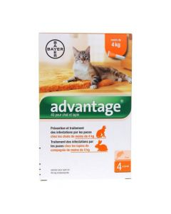 Bayer Advantage 40 Solution Antipuce Pour Chat et Lapin de 4kg + 4 Pipettes