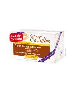 Rogé Cavaillès Savon Surgras Extra Doux Lait et Miel lot de 2x250 g