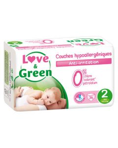 Love & Green Couches Hypoallergéniques Taille 2 x 36 couches